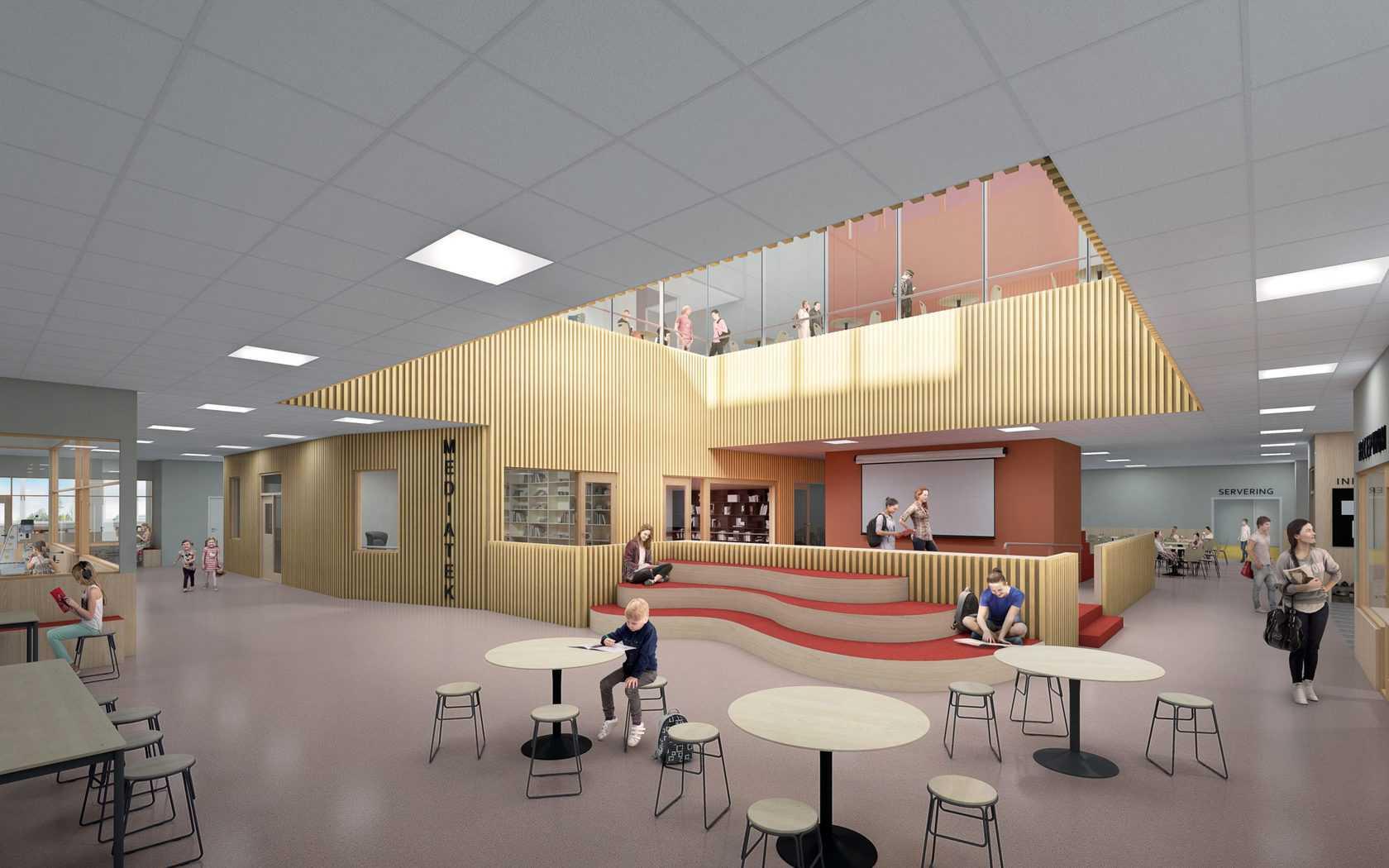 Här är en 3D bild på skolans ingång.